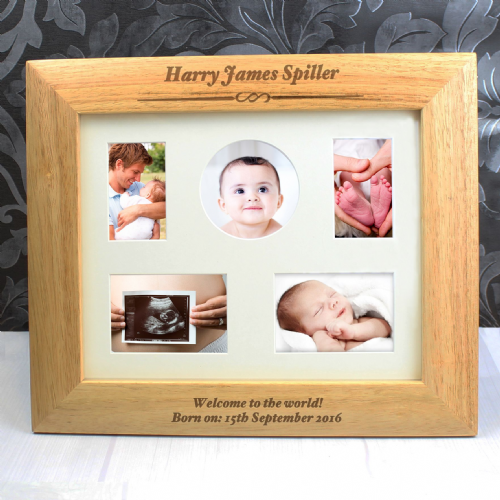 New Baby Personalised Gift -Multi Aperture or 10x8  Wooden Frame Gift